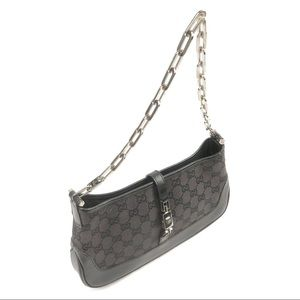 Gucci Black GG Canvas Jackie Chain Shoulder Bag